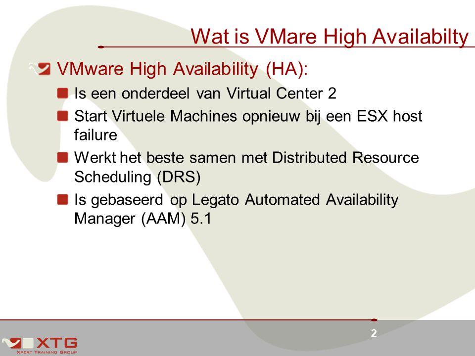 2 Wat is VMare High Availabilty VMware High Availability (HA): Is een onderdeel van Virtual Center 2 Start Virtuele Machines opnieuw bij een ESX host failure Werkt het beste samen met Distributed Resource Scheduling (DRS) Is gebaseerd op Legato Automated Availability Manager (AAM) 5.1