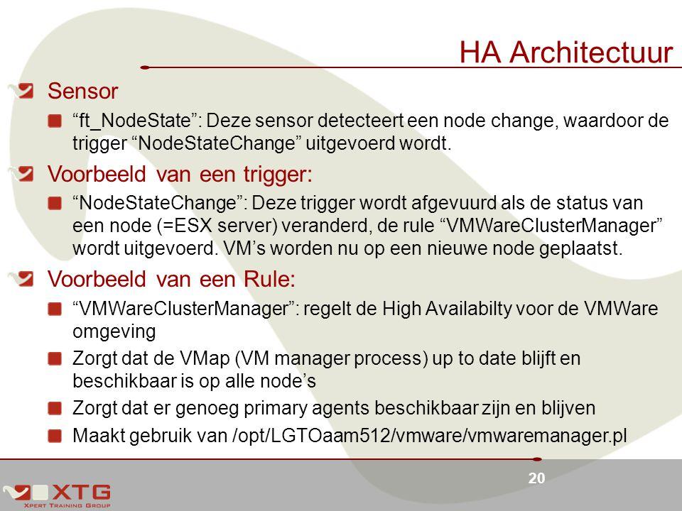 20 HA Architectuur Sensor ft_NodeState : Deze sensor detecteert een node change, waardoor de trigger NodeStateChange uitgevoerd wordt.