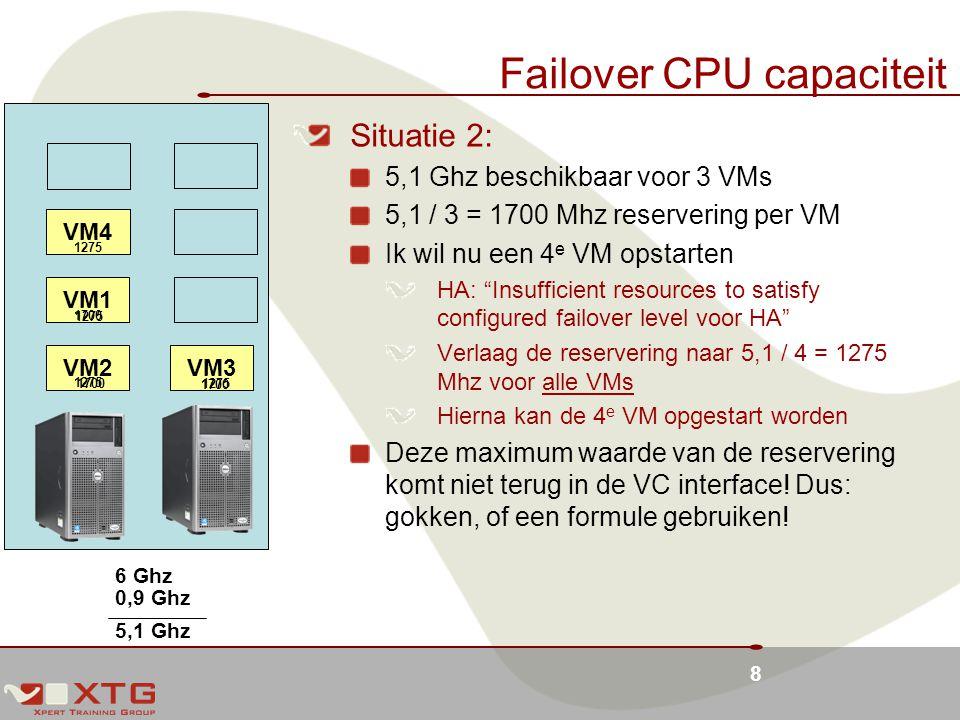 8 Failover CPU capaciteit VM1 VM3VM2 Situatie 2: 5,1 Ghz beschikbaar voor 3 VMs 5,1 / 3 = 1700 Mhz reservering per VM Ik wil nu een 4 e VM opstarten HA: Insufficient resources to satisfy configured failover level voor HA Verlaag de reservering naar 5,1 / 4 = 1275 Mhz voor alle VMs Hierna kan de 4 e VM opgestart worden Deze maximum waarde van de reservering komt niet terug in de VC interface.