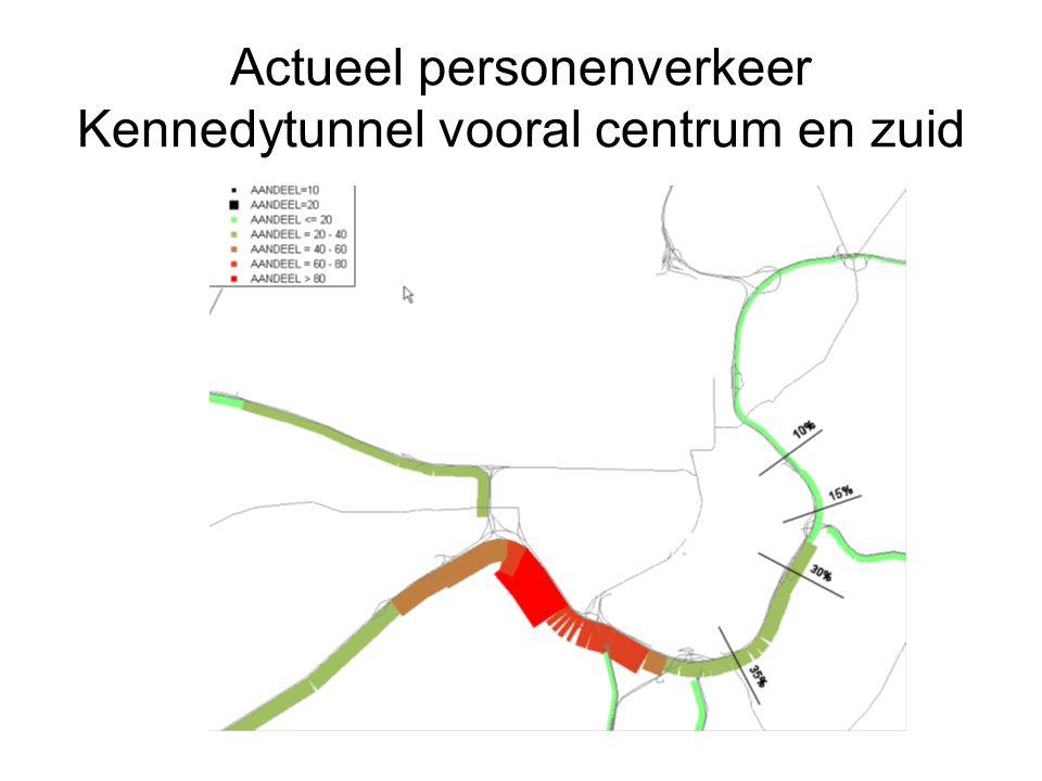 Actueel personenverkeer Kennedytunnel vooral centrum en zuid