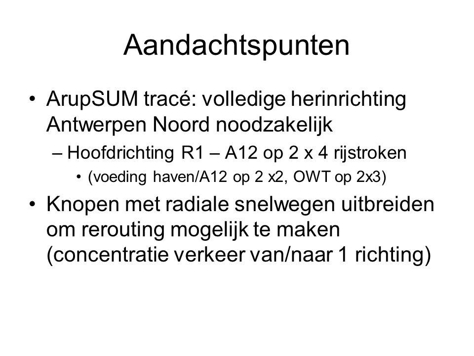Aandachtspunten ArupSUM tracé: volledige herinrichting Antwerpen Noord noodzakelijk –Hoofdrichting R1 – A12 op 2 x 4 rijstroken (voeding haven/A12 op 2 x2, OWT op 2x3) Knopen met radiale snelwegen uitbreiden om rerouting mogelijk te maken (concentratie verkeer van/naar 1 richting)