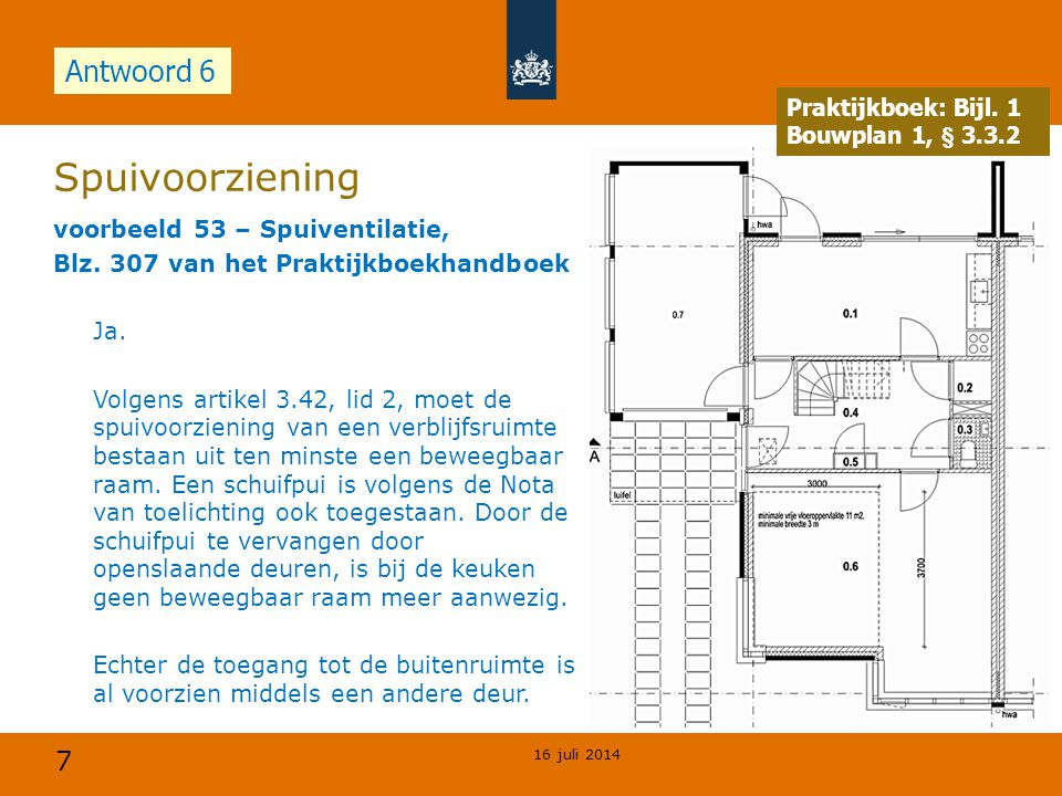 8 Verblijfsgebied en verblijfsruimte Voorbeeld 56 Verblijfsruimte, bladzijde 309 praktijkboek De maximale vloeroppervlakte van de verblijfsruimte is aangegeven in figuur 115.