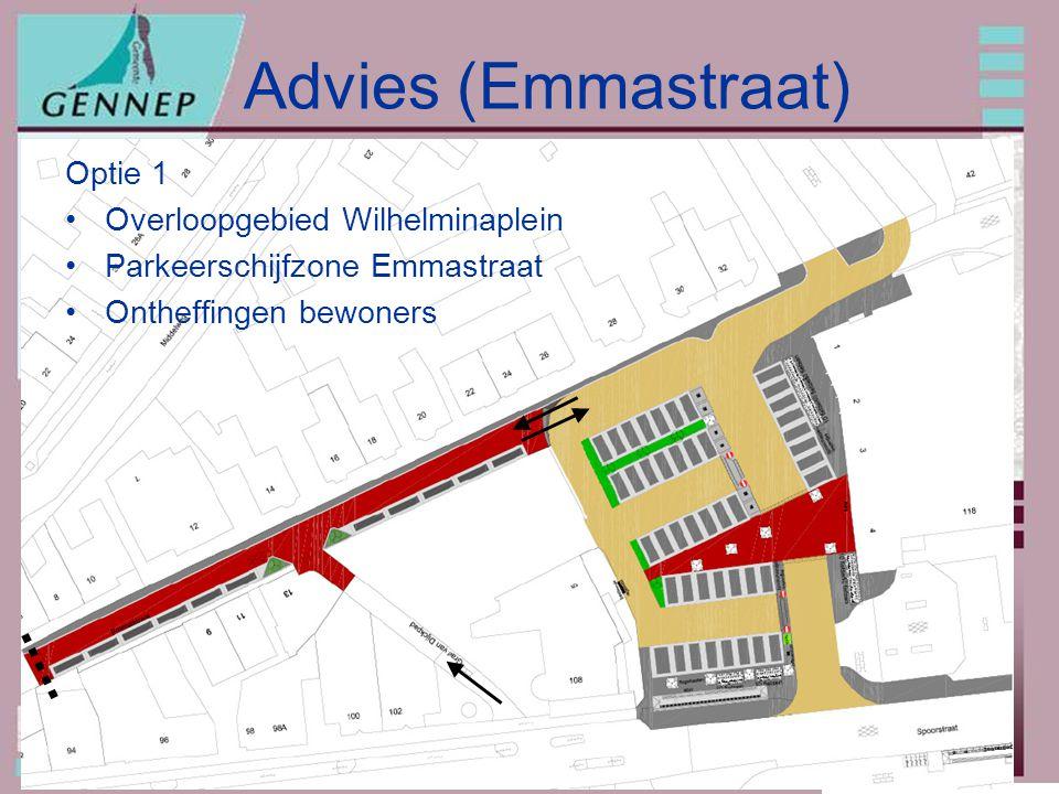20091207: Parkeren omgeving Wilhelminaplein Advies (Emmastraat) Optie 1 Overloopgebied Wilhelminaplein Parkeerschijfzone Emmastraat Ontheffingen bewoners