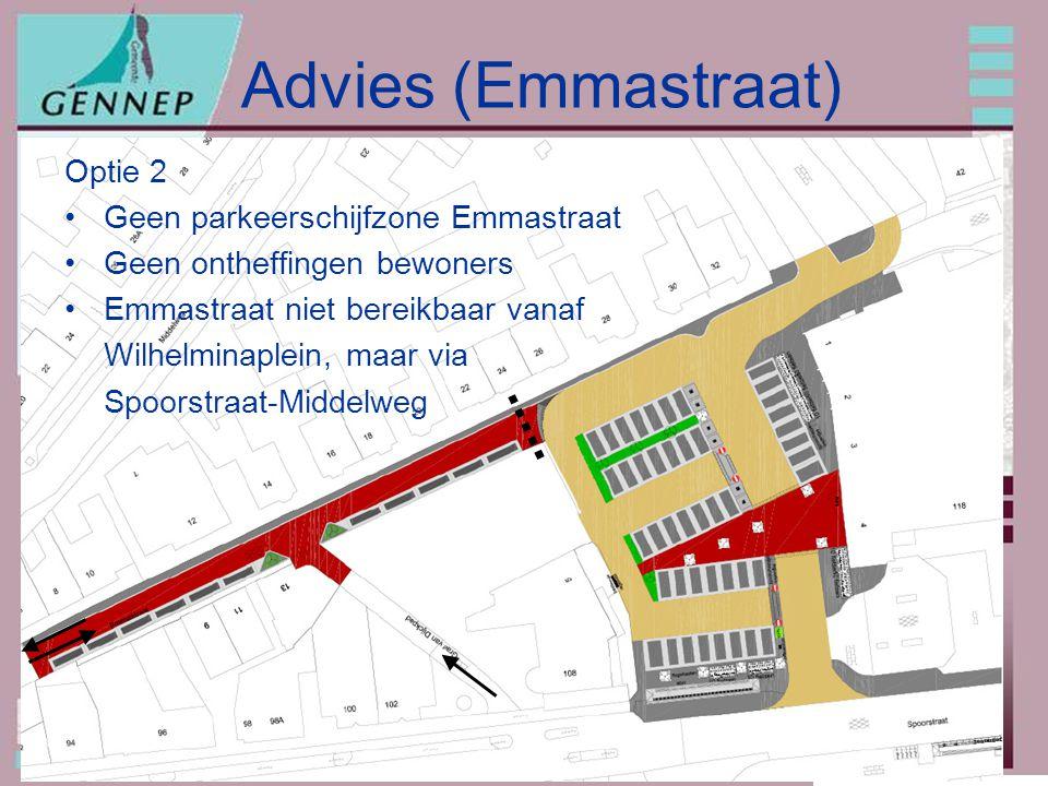 20091207: Parkeren omgeving Wilhelminaplein Advies (Emmastraat) Optie 2 Geen parkeerschijfzone Emmastraat Geen ontheffingen bewoners Emmastraat niet bereikbaar vanaf Wilhelminaplein, maar via Spoorstraat-Middelweg