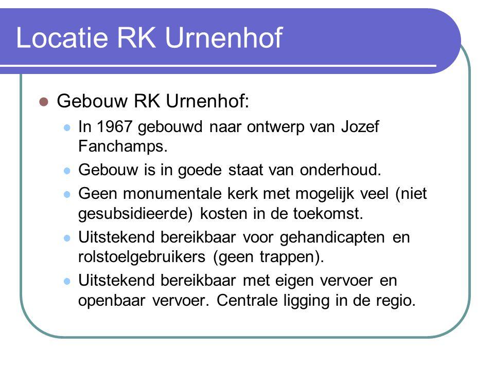 Locatie RK Urnenhof Gebouw RK Urnenhof: In 1967 gebouwd naar ontwerp van Jozef Fanchamps. Gebouw is in goede staat van onderhoud. Geen monumentale ker