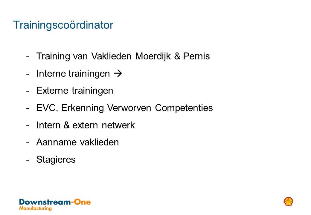 - Training van Vaklieden Moerdijk & Pernis - Interne trainingen  - Externe trainingen - EVC, Erkenning Verworven Competenties - Intern & extern netwerk - Aanname vaklieden - Stagieres Trainingscoördinator