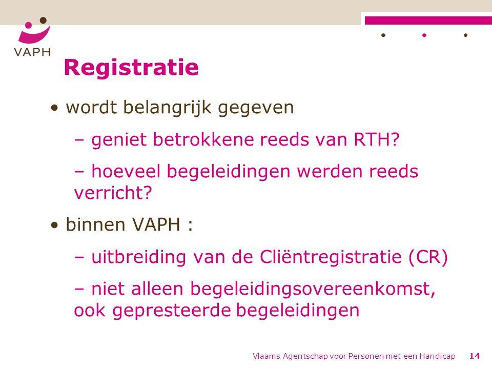 Registratie wordt belangrijk gegeven – geniet betrokkene reeds van RTH? – hoeveel begeleidingen werden reeds verricht? binnen VAPH : – uitbreiding van
