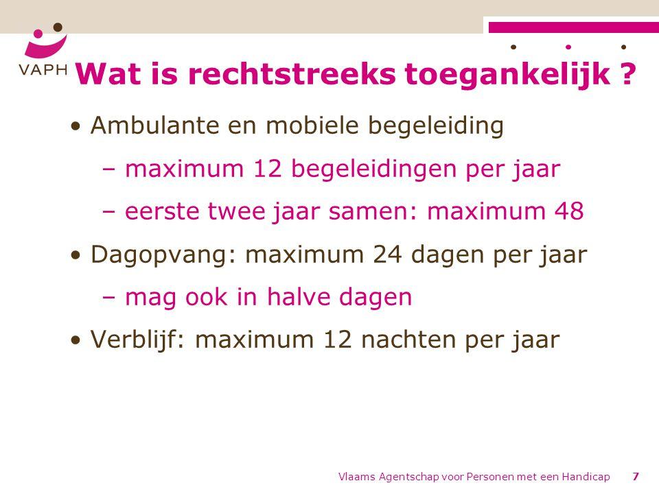 Wat is rechtstreeks toegankelijk ? Ambulante en mobiele begeleiding – maximum 12 begeleidingen per jaar – eerste twee jaar samen: maximum 48 Dagopvang