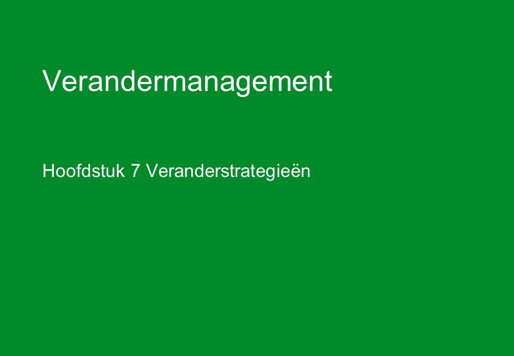 Verandermanagement hoofdstuk 7 Veranderstrategieën32 Weerstandsmodel van Zaltman en Duncan (2) 4.