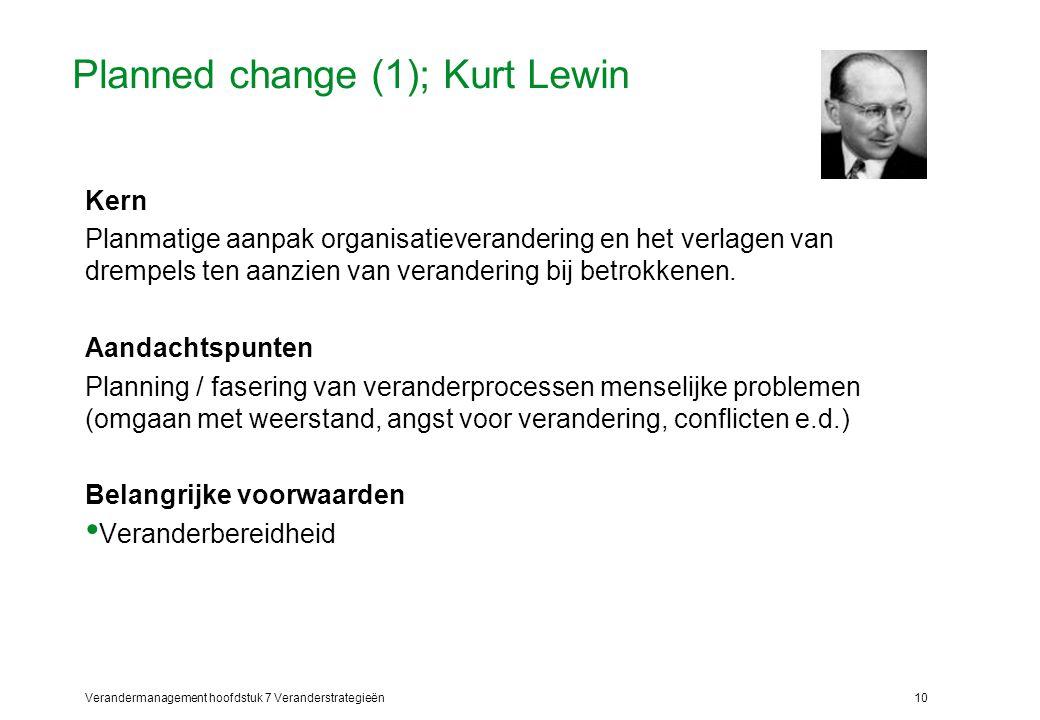 Verandermanagement hoofdstuk 7 Veranderstrategieën10 Planned change (1); Kurt Lewin Kern Planmatige aanpak organisatieverandering en het verlagen van