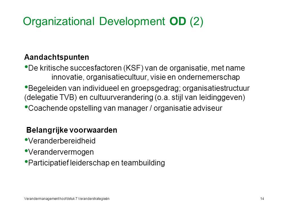 Verandermanagement hoofdstuk 7 Veranderstrategieën14 Organizational Development OD (2) Aandachtspunten De kritische succesfactoren (KSF) van de organi