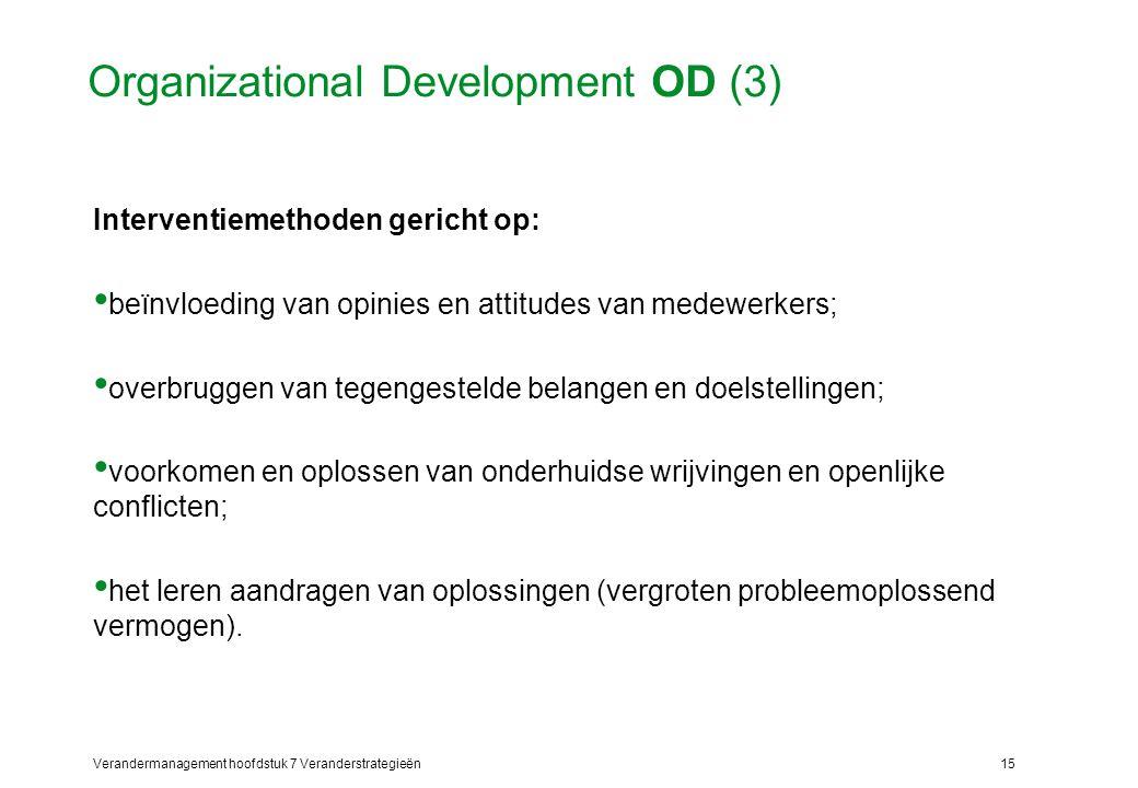 Verandermanagement hoofdstuk 7 Veranderstrategieën15 Organizational Development OD (3) Interventiemethoden gericht op: beïnvloeding van opinies en att