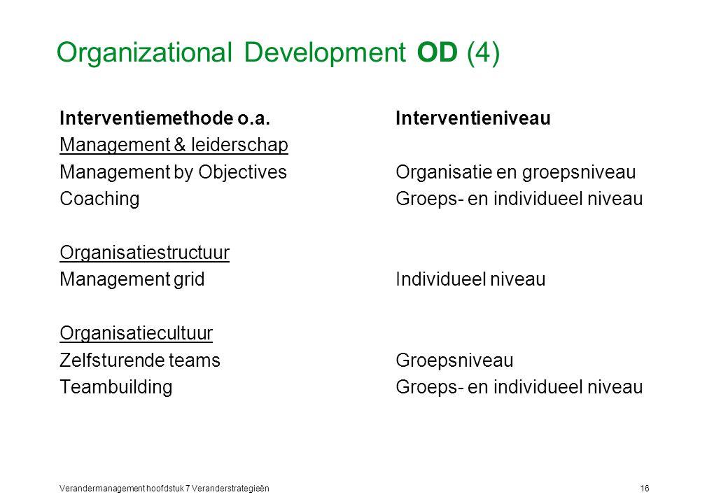 Verandermanagement hoofdstuk 7 Veranderstrategieën16 Organizational Development OD (4) Interventiemethode o.a.Interventieniveau Management & leidersch