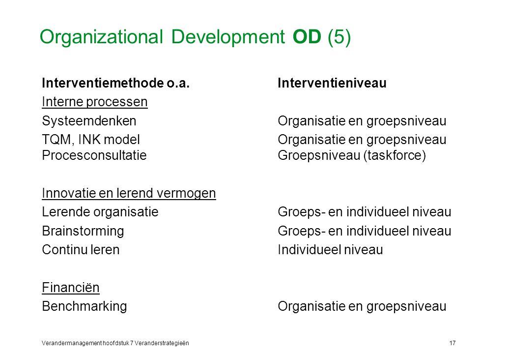 Verandermanagement hoofdstuk 7 Veranderstrategieën17 Organizational Development OD (5) Interventiemethode o.a.Interventieniveau Interne processen Syst