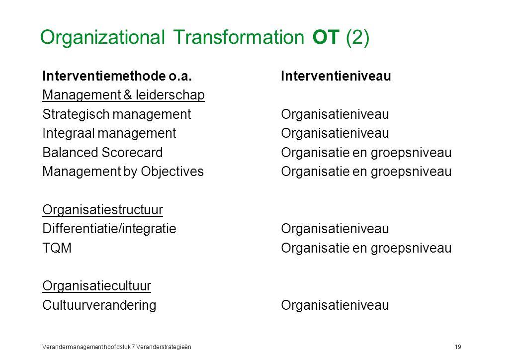 Verandermanagement hoofdstuk 7 Veranderstrategieën19 Organizational Transformation OT (2) Interventiemethode o.a.Interventieniveau Management & leider