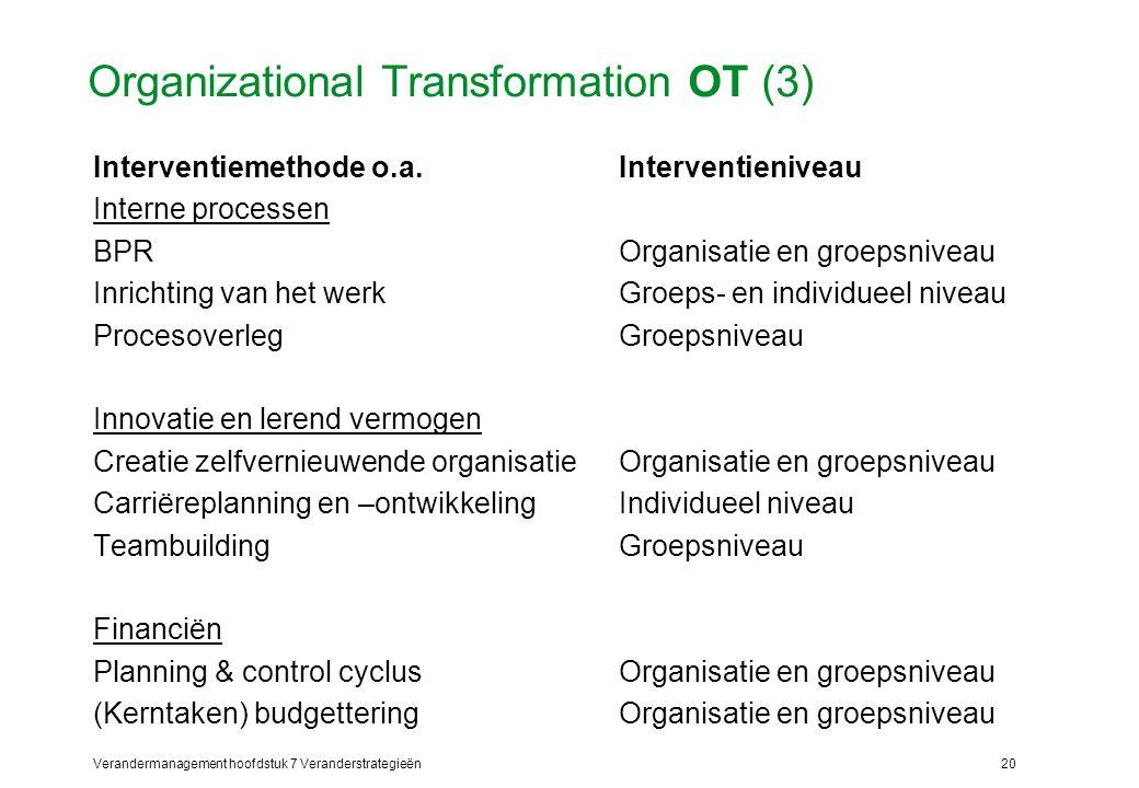 Verandermanagement hoofdstuk 7 Veranderstrategieën20 Organizational Transformation OT (3) Interventiemethode o.a.Interventieniveau Interne processen B