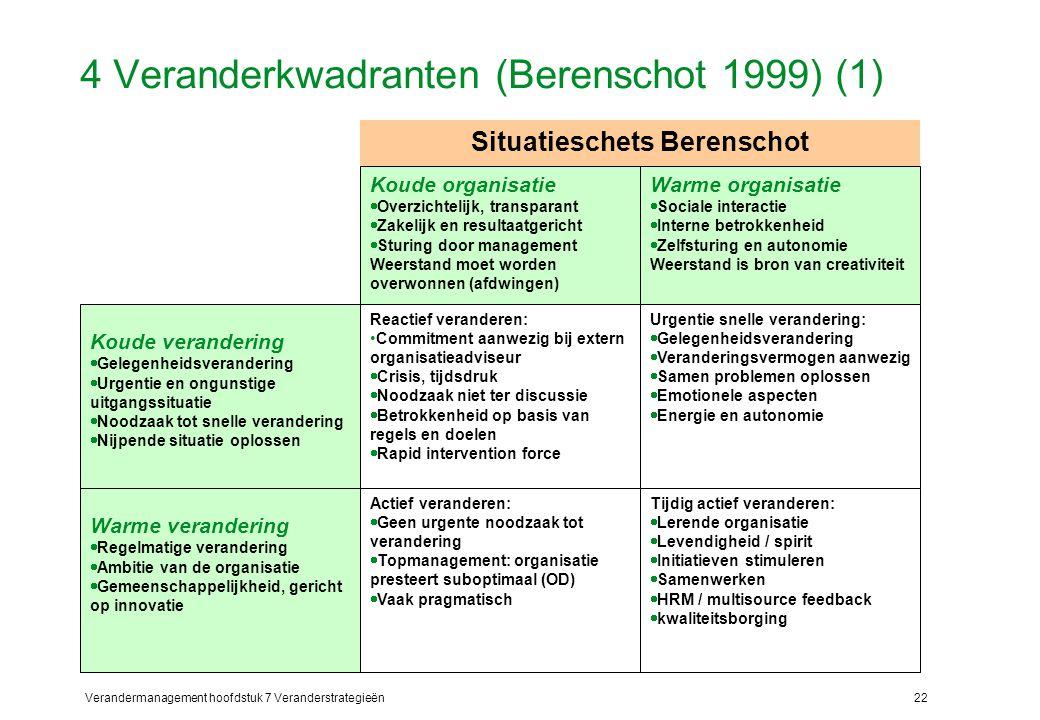 Verandermanagement hoofdstuk 7 Veranderstrategieën22 4 Veranderkwadranten (Berenschot 1999) (1) Warme organisatie  Sociale interactie  Interne betro