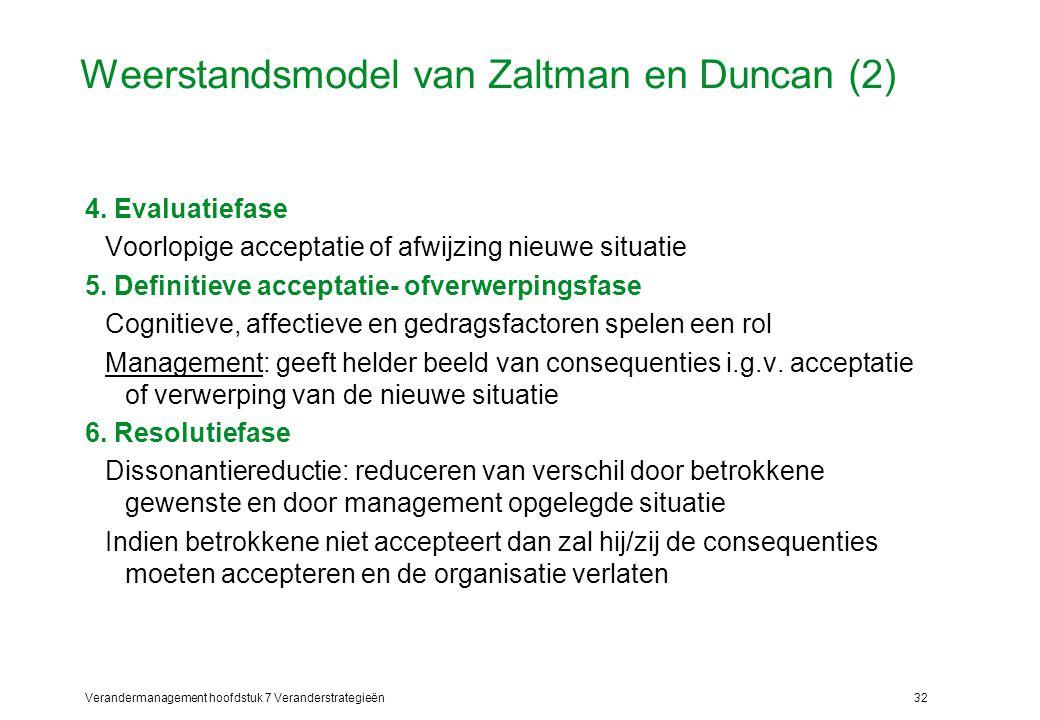 Verandermanagement hoofdstuk 7 Veranderstrategieën32 Weerstandsmodel van Zaltman en Duncan (2) 4. Evaluatiefase Voorlopige acceptatie of afwijzing nie