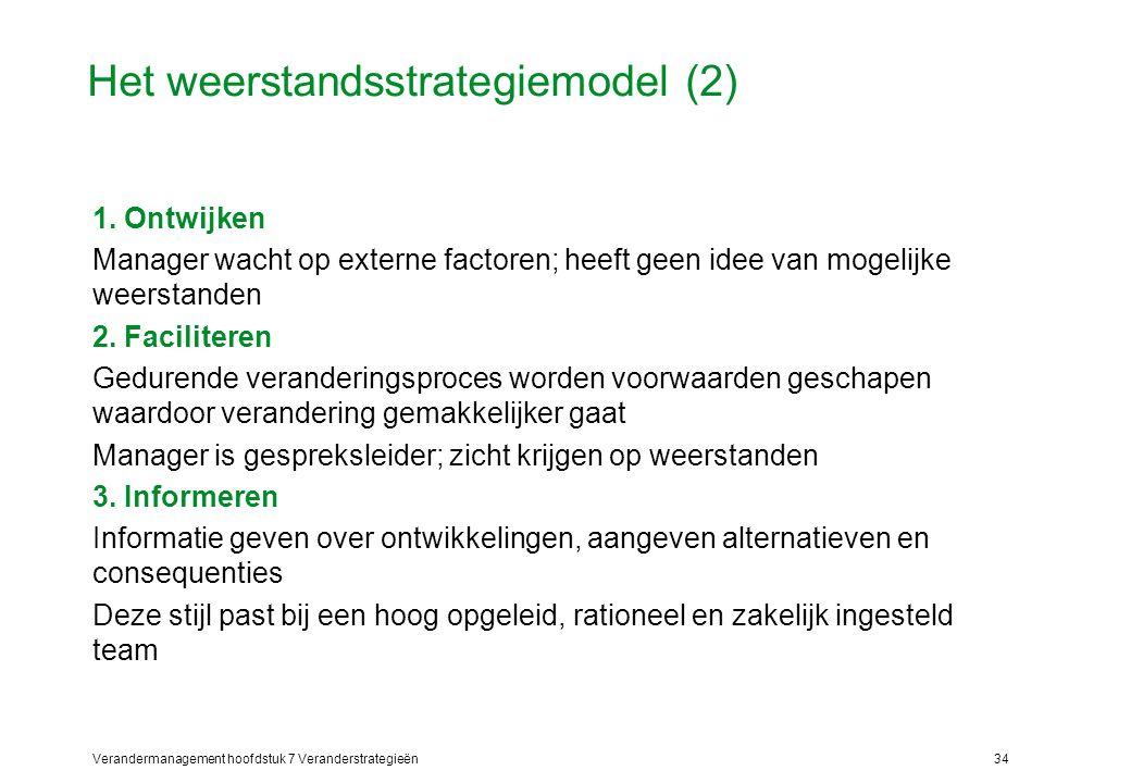 Verandermanagement hoofdstuk 7 Veranderstrategieën34 Het weerstandsstrategiemodel (2) 1. Ontwijken Manager wacht op externe factoren; heeft geen idee