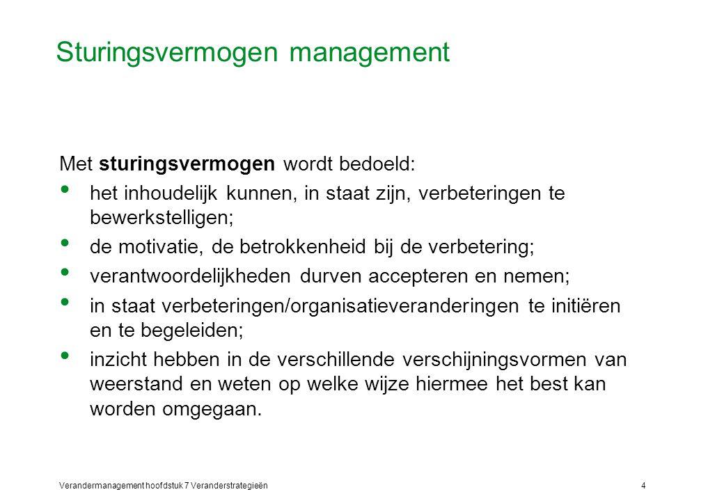 Verandermanagement hoofdstuk 7 Veranderstrategieën5 Veranderingsbereidheid en -capaciteit Veranderbereidheid: waarneembare bereidheid van medewerkers om mee te werken aan veranderingen.