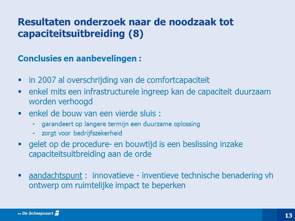 Resultaten onderzoek naar de noodzaak tot capaciteitsuitbreiding (8) Conclusies en aanbevelingen :  in 2007 al overschrijding van de comfortcapacitei