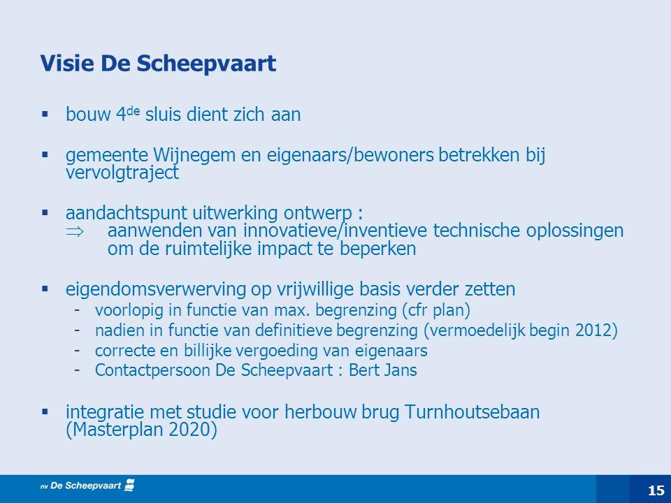 15 Visie De Scheepvaart  bouw 4 de sluis dient zich aan  gemeente Wijnegem en eigenaars/bewoners betrekken bij vervolgtraject  aandachtspunt uitwer