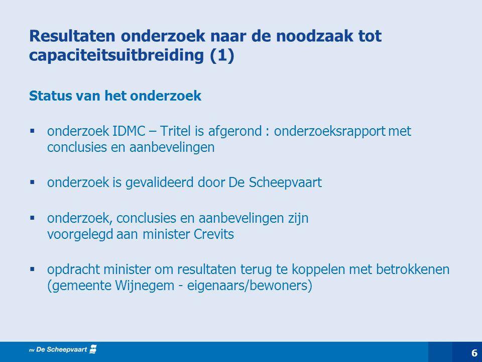6 Resultaten onderzoek naar de noodzaak tot capaciteitsuitbreiding (1) Status van het onderzoek  onderzoek IDMC – Tritel is afgerond : onderzoeksrapp