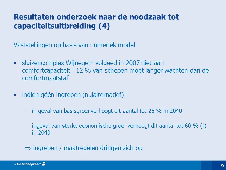 9 Resultaten onderzoek naar de noodzaak tot capaciteitsuitbreiding (4) Vaststellingen op basis van numeriek model  sluizencomplex Wijnegem voldeed in