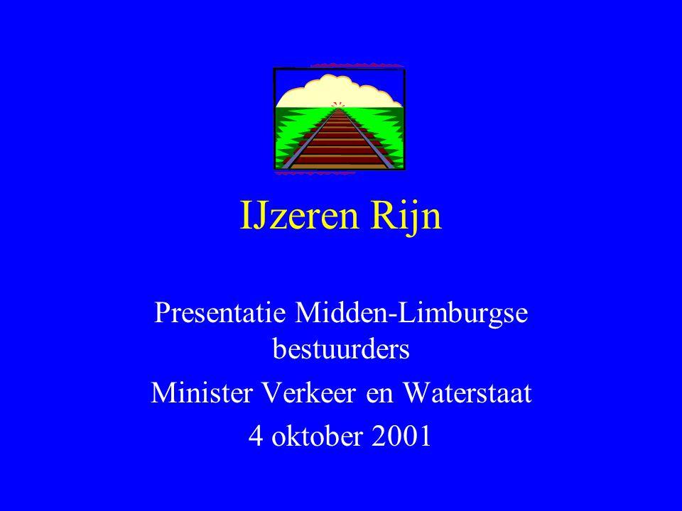 IJzeren Rijn Presentatie Midden-Limburgse bestuurders Minister Verkeer en Waterstaat 4 oktober 2001