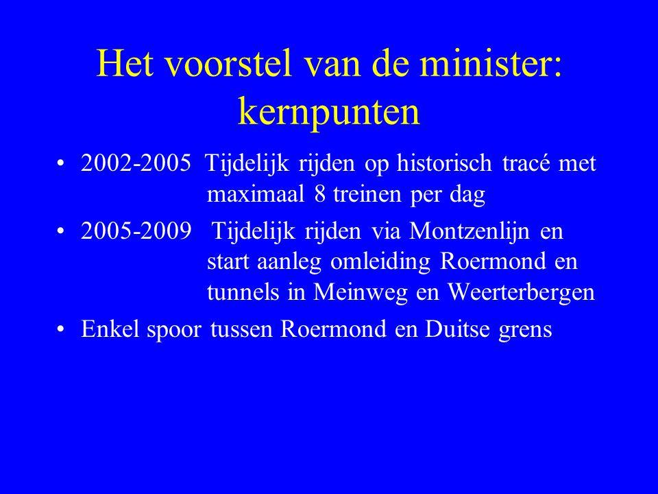 Het voorstel van de minister: kernpunten 2002-2005 Tijdelijk rijden op historisch tracé met maximaal 8 treinen per dag 2005-2009 Tijdelijk rijden via Montzenlijn en start aanleg omleiding Roermond en tunnels in Meinweg en Weerterbergen Enkel spoor tussen Roermond en Duitse grens