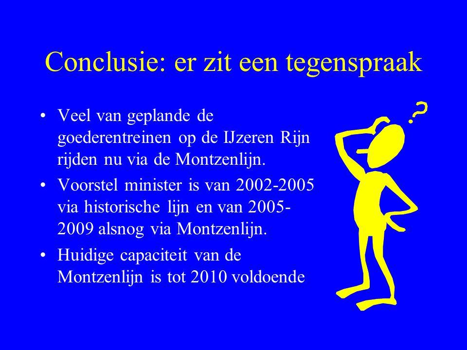 Conclusie: er zit een tegenspraak Veel van geplande de goederentreinen op de IJzeren Rijn rijden nu via de Montzenlijn.