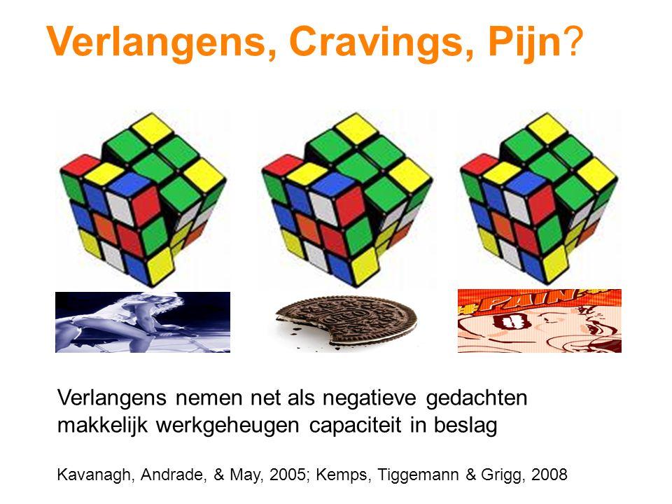 Verlangens, Cravings, Pijn? Verlangens nemen net als negatieve gedachten makkelijk werkgeheugen capaciteit in beslag Kavanagh, Andrade, & May, 2005; K