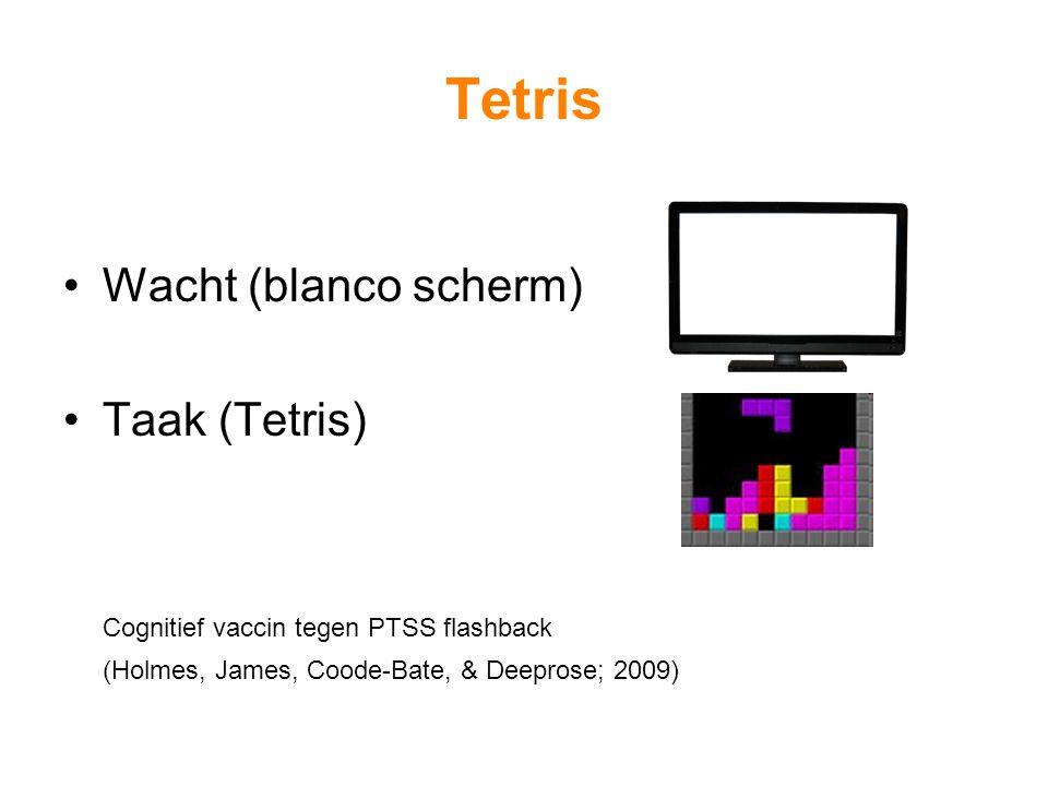 Tetris Wacht (blanco scherm) Taak (Tetris) Cognitief vaccin tegen PTSS flashback (Holmes, James, Coode-Bate, & Deeprose; 2009)