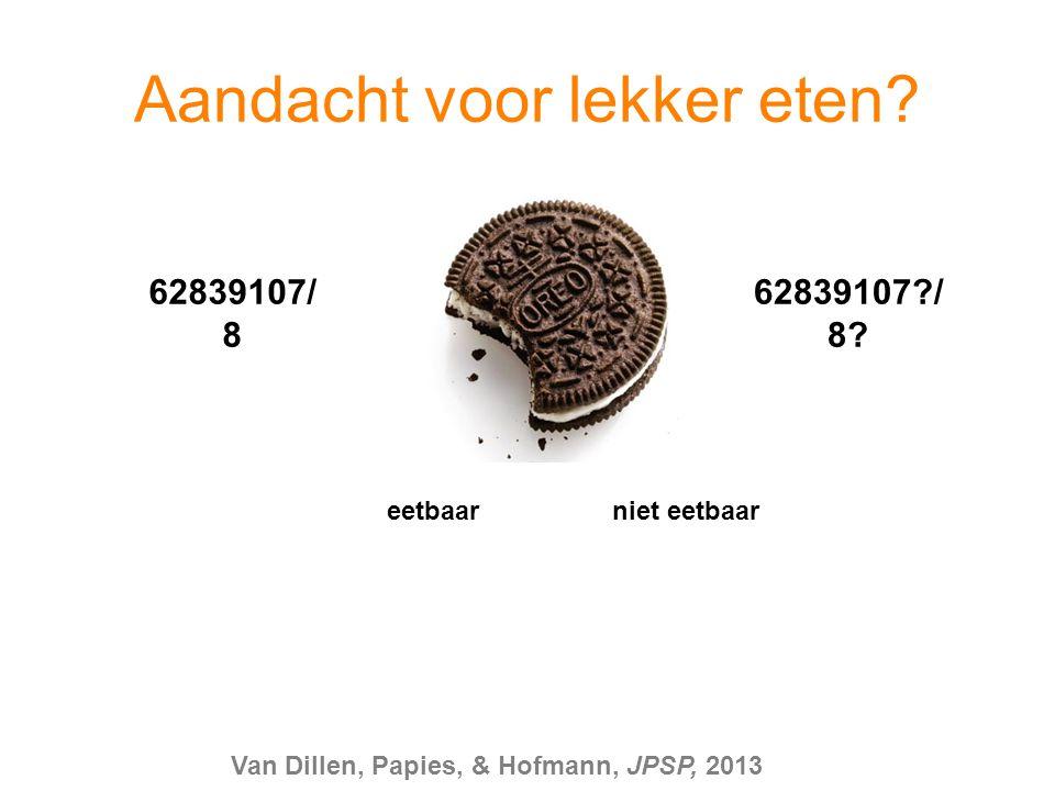 eetbaar niet eetbaar 62839107/ 8 62839107?/ 8? Aandacht voor lekker eten? Van Dillen, Papies, & Hofmann, JPSP, 2013