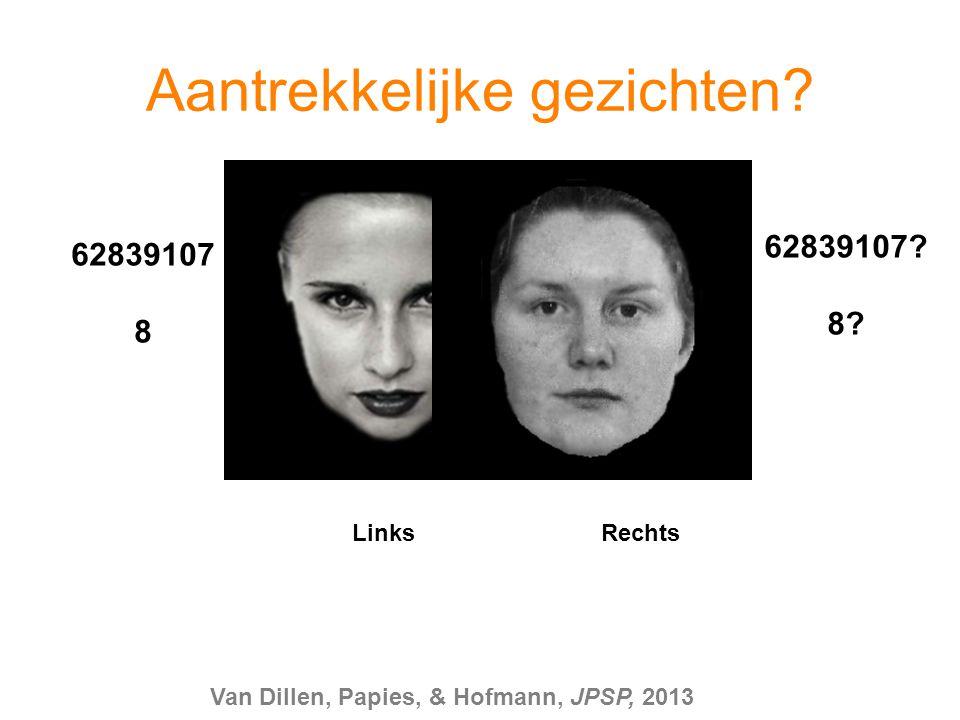 62839107 8 62839107? 8? Links Rechts Aantrekkelijke gezichten? Van Dillen, Papies, & Hofmann, JPSP, 2013