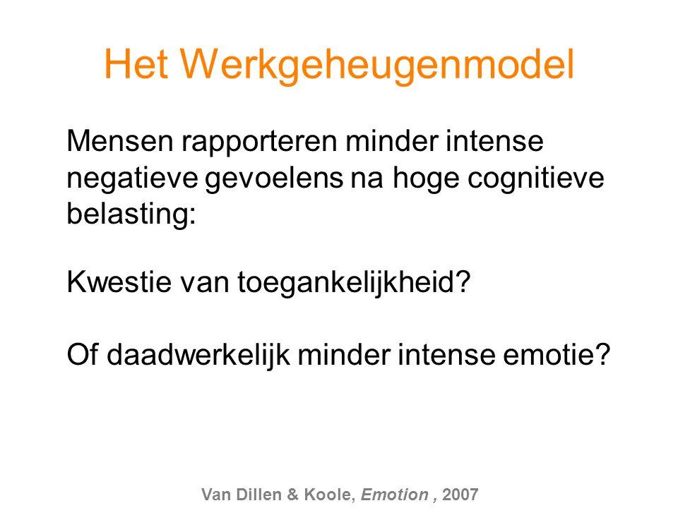 Het Werkgeheugenmodel Mensen rapporteren minder intense negatieve gevoelens na hoge cognitieve belasting: Van Dillen & Koole, Emotion, 2007 Kwestie va