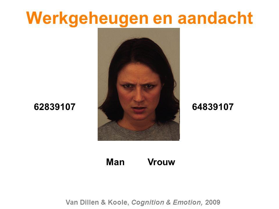 62839107 Man Vrouw 64839107 Van Dillen & Koole, Cognition & Emotion, 2009 Werkgeheugen en aandacht