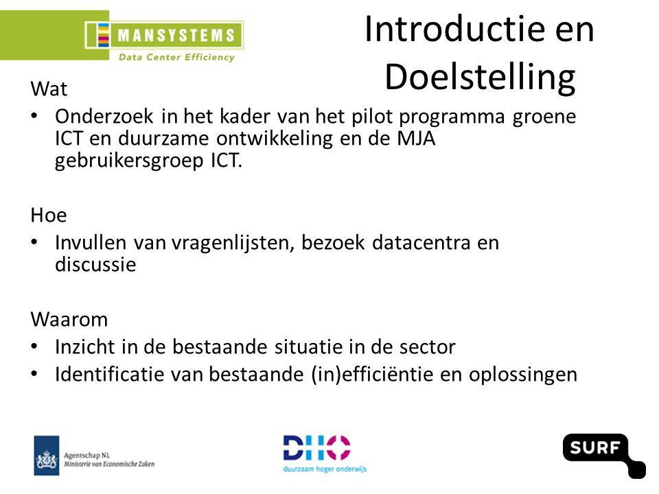 Introductie en Doelstelling Wat Onderzoek in het kader van het pilot programma groene ICT en duurzame ontwikkeling en de MJA gebruikersgroep ICT.