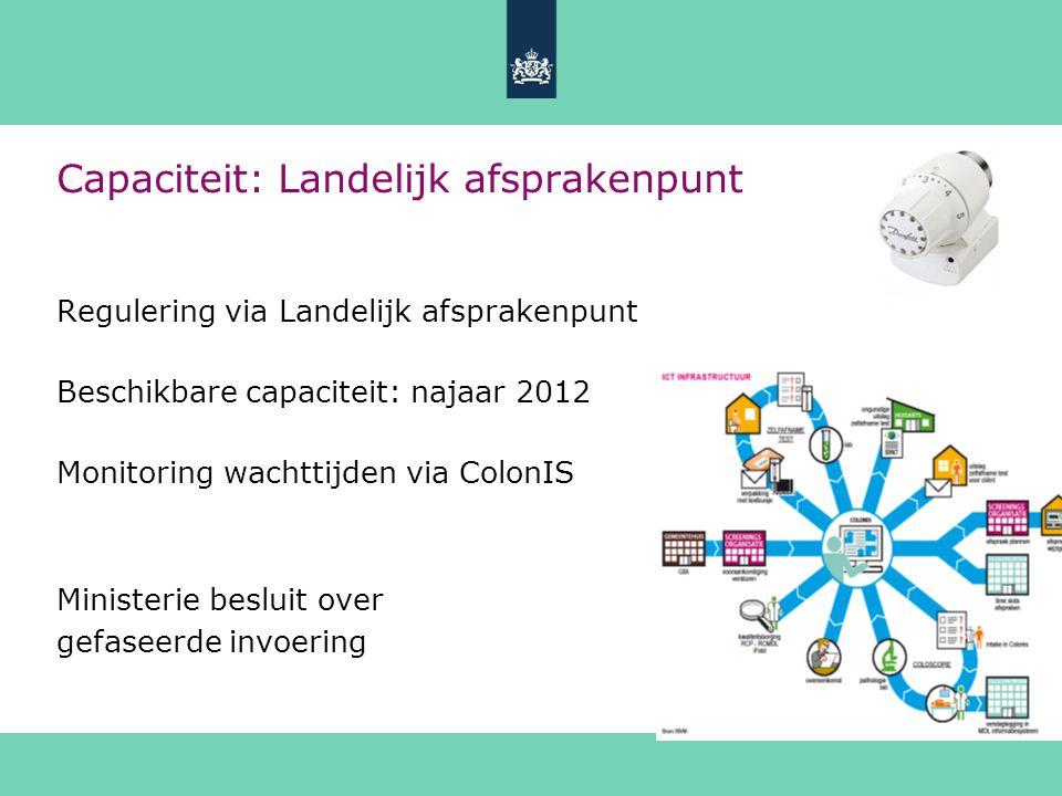 Capaciteit: Landelijk afsprakenpunt Regulering via Landelijk afsprakenpunt Beschikbare capaciteit: najaar 2012 Monitoring wachttijden via ColonIS Mini