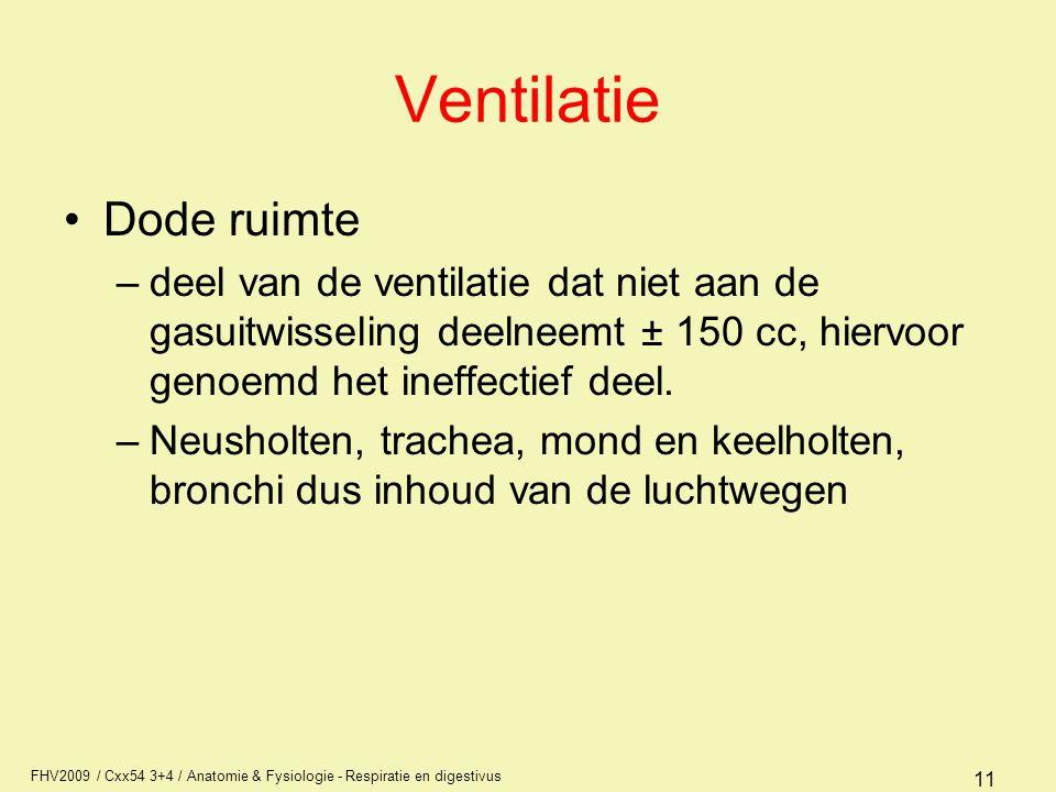 FHV2009 / Cxx54 3+4 / Anatomie & Fysiologie - Respiratie en digestivus 11 Ventilatie Dode ruimte –deel van de ventilatie dat niet aan de gasuitwisseli