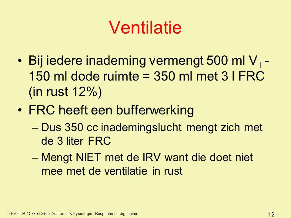 FHV2009 / Cxx54 3+4 / Anatomie & Fysiologie - Respiratie en digestivus 12 Ventilatie Bij iedere inademing vermengt 500 ml V T - 150 ml dode ruimte = 3