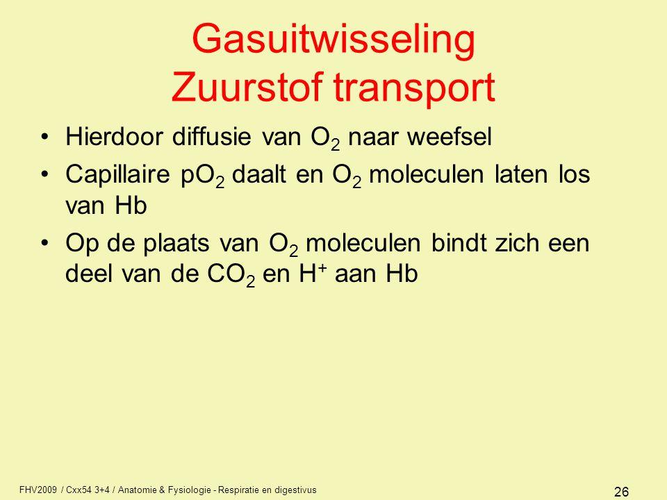 FHV2009 / Cxx54 3+4 / Anatomie & Fysiologie - Respiratie en digestivus 26 Gasuitwisseling Zuurstof transport Hierdoor diffusie van O 2 naar weefsel Ca