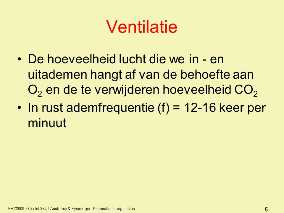 FHV2009 / Cxx54 3+4 / Anatomie & Fysiologie - Respiratie en digestivus 5 Ventilatie De hoeveelheid lucht die we in - en uitademen hangt af van de beho