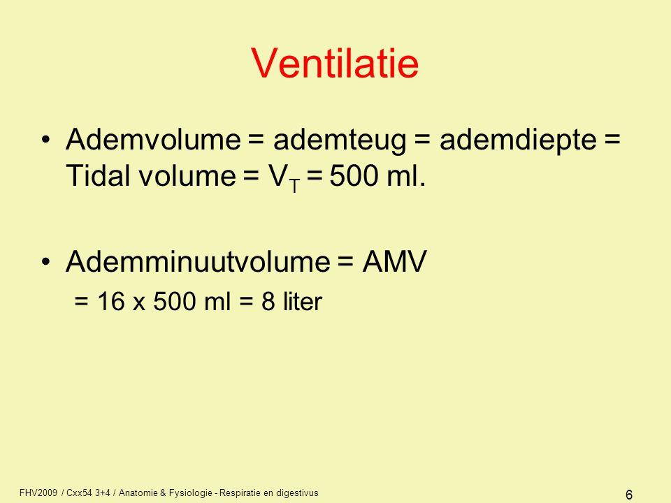 FHV2009 / Cxx54 3+4 / Anatomie & Fysiologie - Respiratie en digestivus 7 Ventilatie: ademvolume Vt = 500 ml IRV = 2500 ml ERV = 1500 ml RV = 1500 ml TC = 6000 ml VC = 4500 ml FRC = 3000 ml