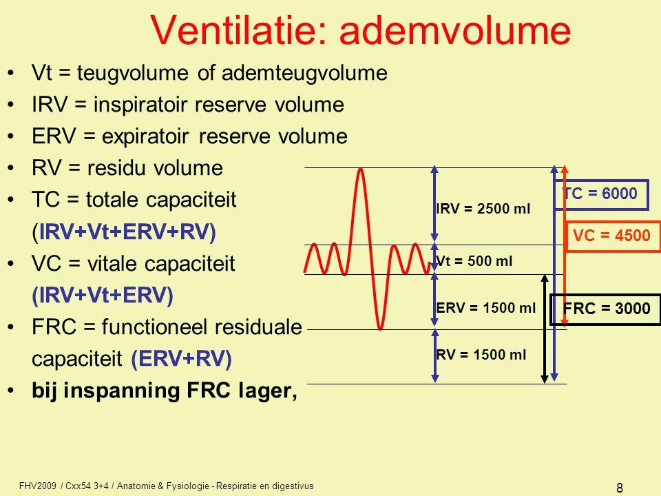 FHV2009 / Cxx54 3+4 / Anatomie & Fysiologie - Respiratie en digestivus 8 Ventilatie: ademvolume Vt = teugvolume of ademteugvolume IRV = inspiratoir re