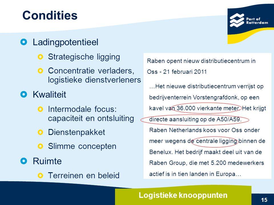 15  Ladingpotentieel  Strategische ligging  Concentratie verladers, logistieke dienstverleners  Kwaliteit  Intermodale focus: capaciteit en ontsl