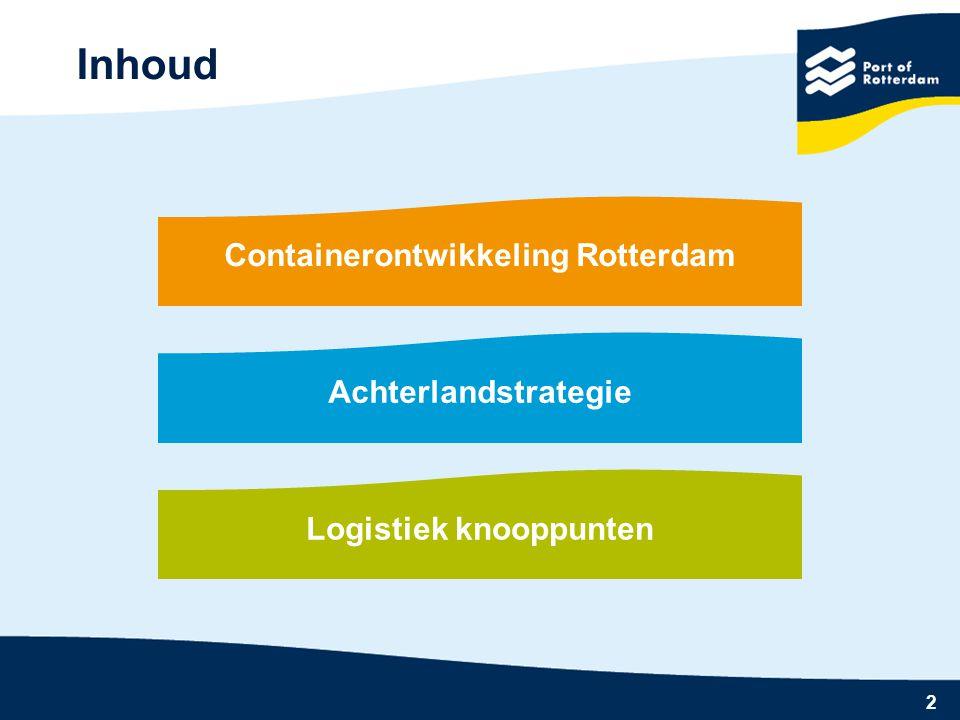 2 Inhoud Containerontwikkeling Rotterdam Achterlandstrategie Logistiek knooppunten