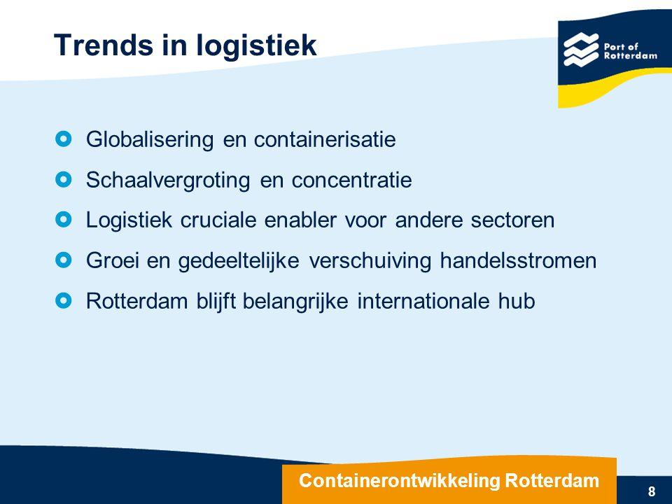 Trends in logistiek  Globalisering en containerisatie  Schaalvergroting en concentratie  Logistiek cruciale enabler voor andere sectoren  Groei en