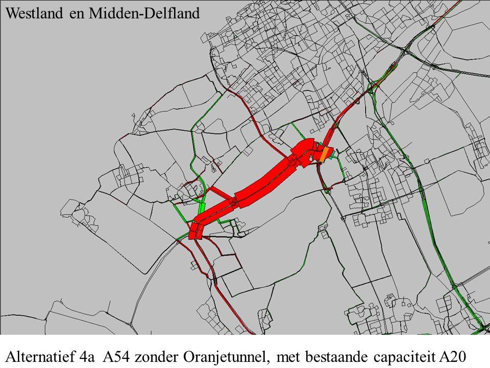 Alternatief 4a A54 zonder Oranjetunnel, met bestaande capaciteit A20 Westland en Midden-Delfland