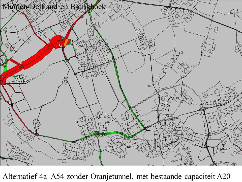 Alternatief 4a A54 zonder Oranjetunnel, met bestaande capaciteit A20 Midden-Delfland en B-driehoek